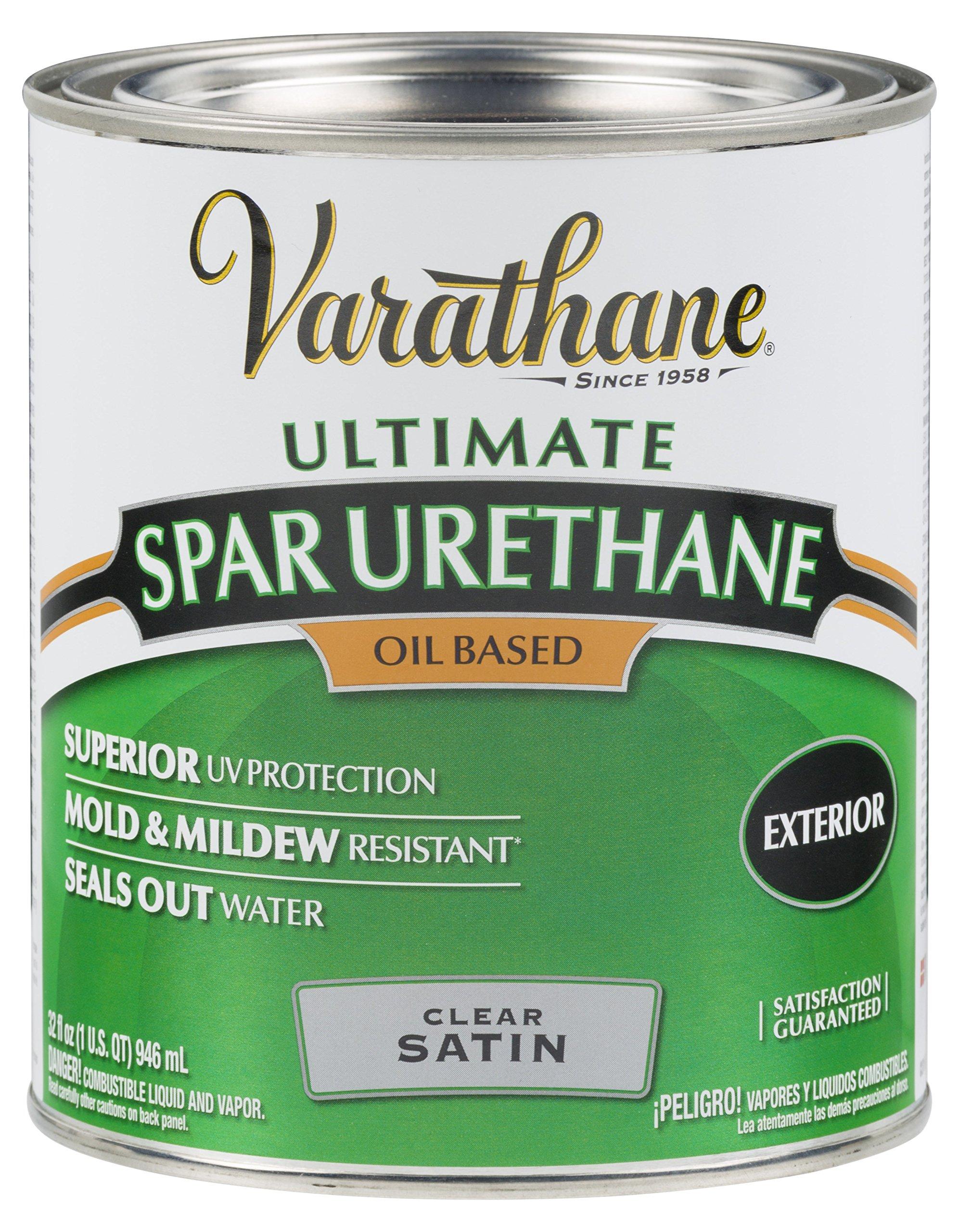 Rust-Oleum Varathane 9341H 1-Quart Classic Clear Oil Based Outdoor Spar Urethane, Satin Finish by Rust-Oleum