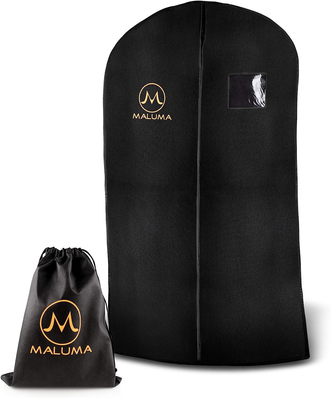 Maluma Premium - Juego de saco para ropa con cremallera en color negro, bolsas para traje, camisas y vestidos con asa de transporte y fieltro ...