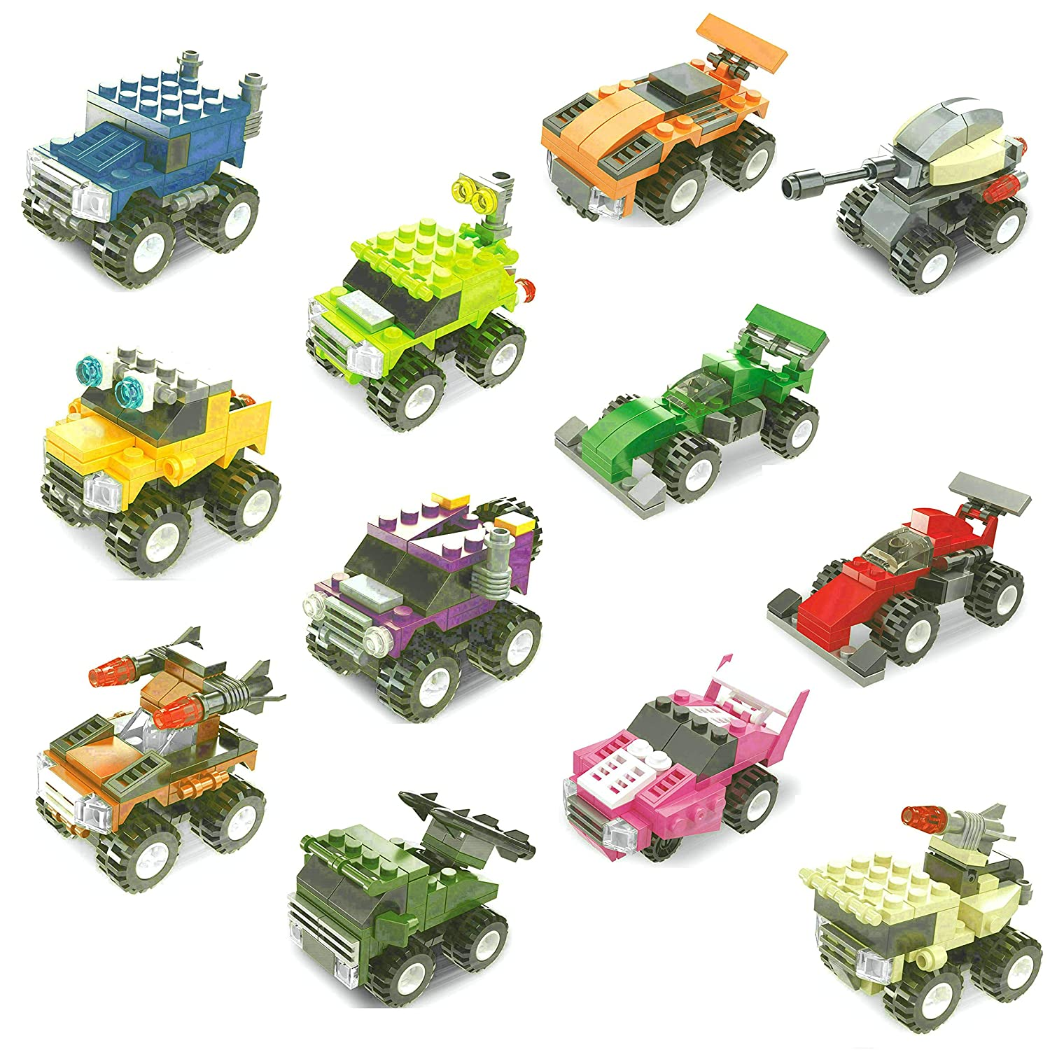 12 Boxes Binyuan Goodie Bags Building Toy for Party Supplies,Birthday Favors Buildable Pull Back Vehicles Mini Building Blocks Sets Kids Prizes