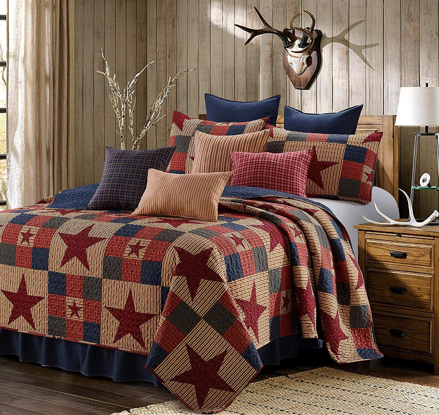 Virah Bella 3 Piece Mountain Cabin Stars Rustic 3 Piece Quilt and Sham Set (Red, King