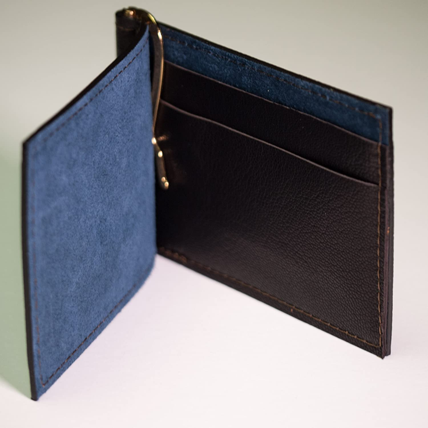 Wilt 1862 Chocolate Wabash Leather Money Clip Card Wallet
