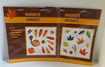Caída y de acción de gracias imanes decoraciones Turquía y varios hojas uso en refrigeradores archivadores de metal puertas puertas: Amazon.es: Hogar