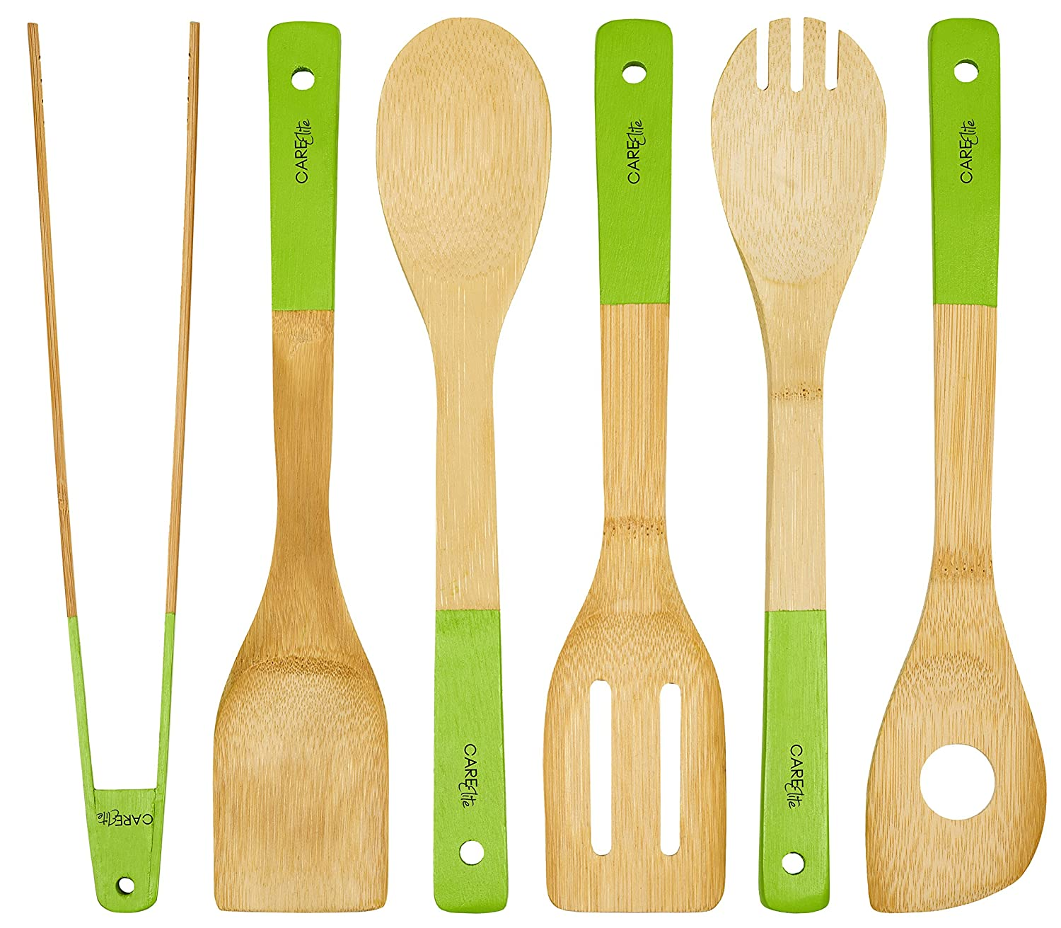 Set of 6 wooden kitchen set made of bamboo wood x267b sustainability green kitchen utensils x272e with wooden spoon heat resistant kitchen utensil