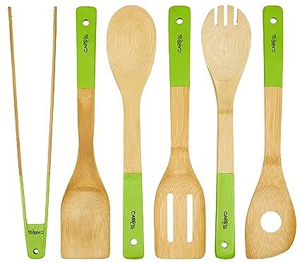 Juego de 6 utensilios de cocina de madera de bambú ♻ SOSTENIBLE verdes Utensilios de cocina