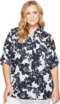 55efd0b9200 Calvin Klein Plus Women s Plus Size Printed Roll Sleeve Blouse Indigo Multi  2X (US 20W