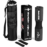 Beast Empire Barbell Pad - Protects Neck and Shoulders During Squats, Lunges and Hip Thrusts - Features Security Straps and Premium Anti-Slip Foam Rubber - Includes Exercise Routine and Carrying Bag