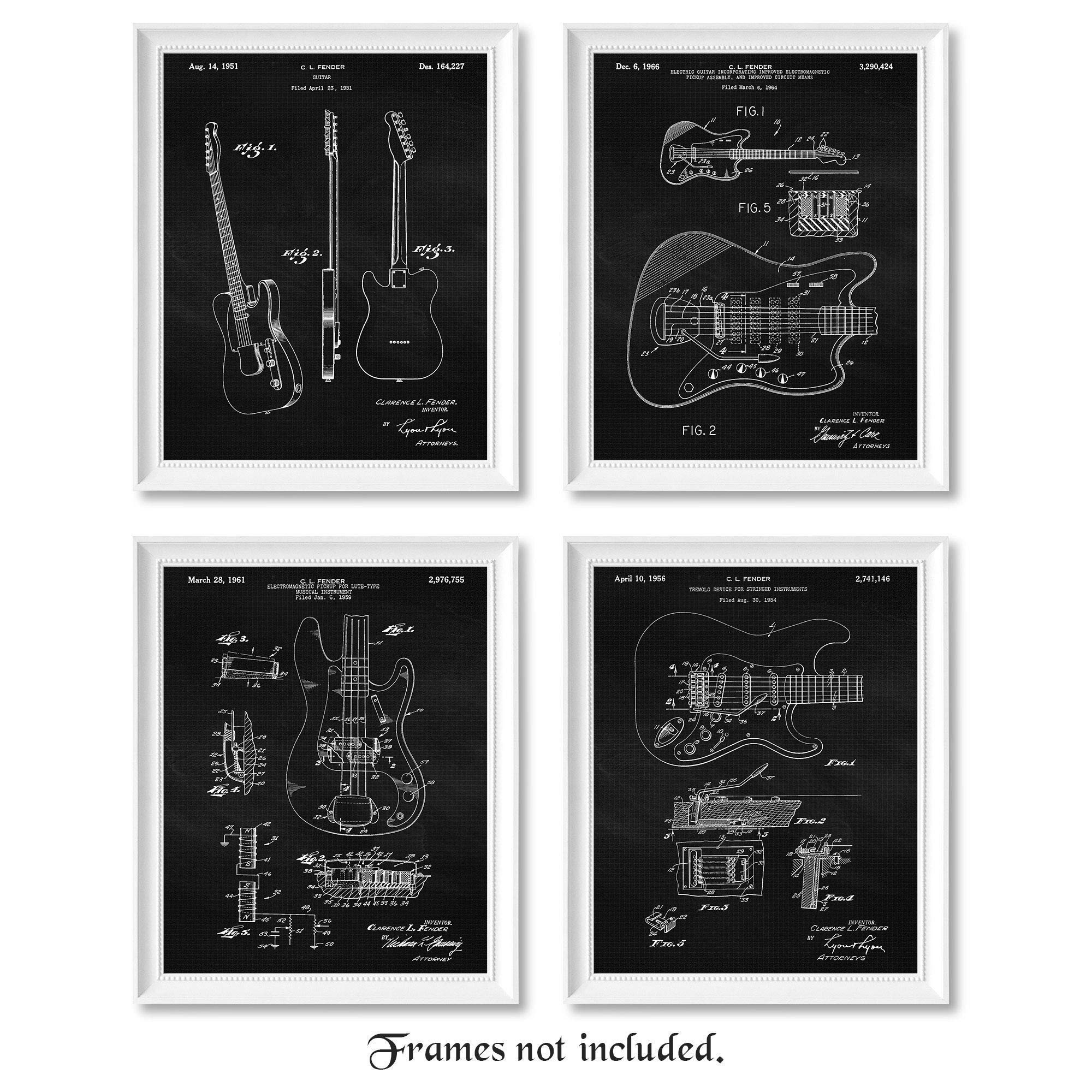 Original Fender Guitar Patent Poster Prints, Set of 4 (8x10) Unframed Photos, Wall Art Decor Gifts Under 20 for Home, Office, Man Cave, Teacher, Musician, College Student, Band, Rock & Roll Fan by Stars by Nature
