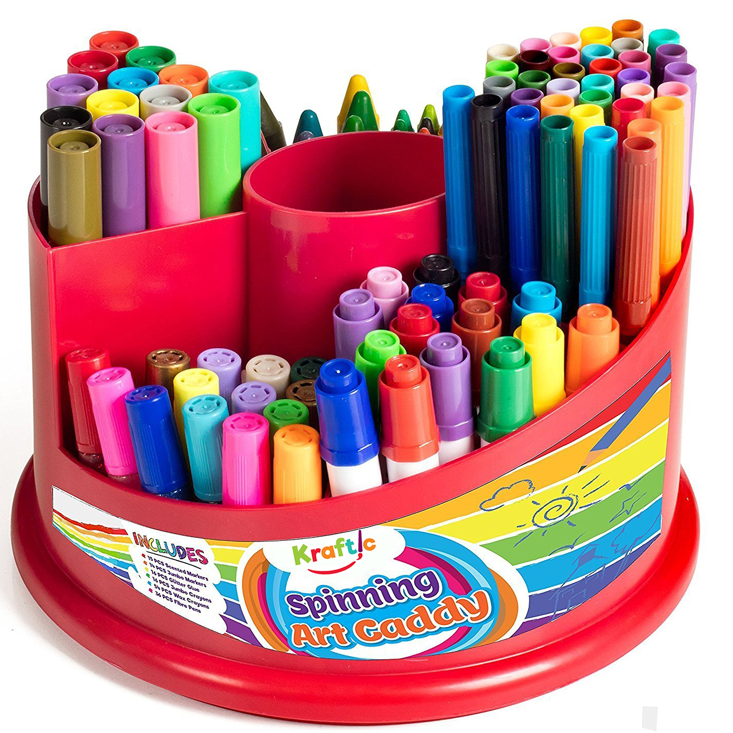 All In 1 Spinning Art Caddy with Set of Crayons, WASHABLE Markers, Scented Markers and Glitter Glue, 151 Piece Set by Kraftic (Image #2)
