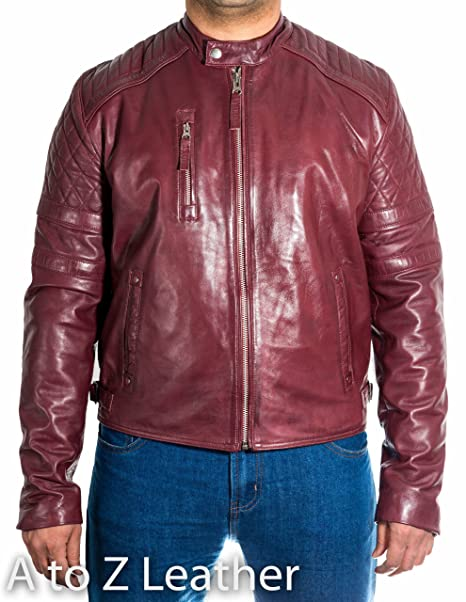 A to Z Leather - Chaqueta - chaqueta - Manga Larga - para hombre rojo granate Small: Amazon.es: Ropa y accesorios