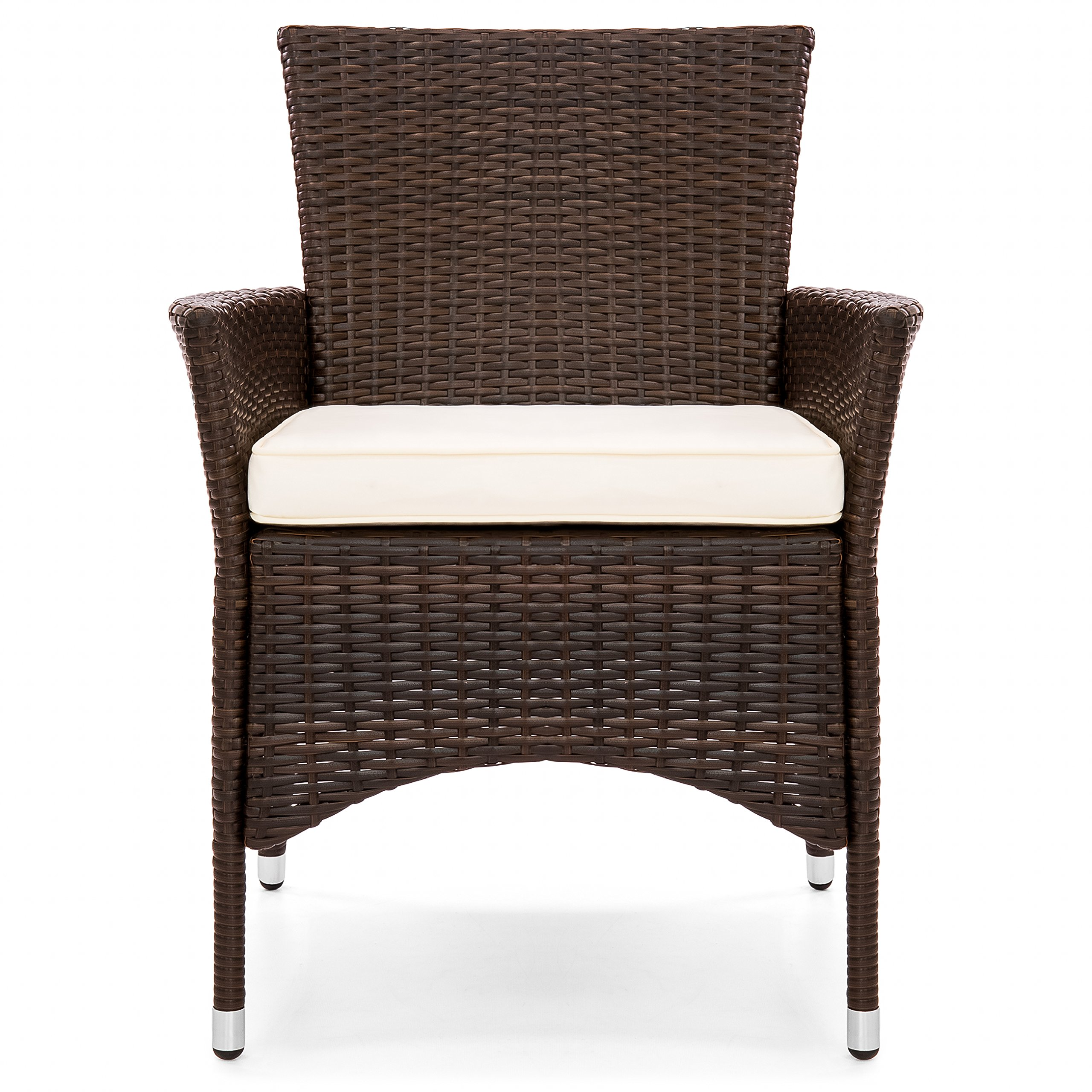 Best Choice Products Set of 2 Modern Contemporary Wicker Patio Dining Chairs w/Water Resistant Cushion - Brown by Best Choice Products (Image #2)