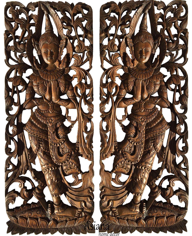"Sawaddee Thai Traditional Figure Wall Art Panel. Asian Wood Wall Decor Welcome Sign. 35.5""x13.5""x1'' Each, Set of 2 Pcs (Brown)"