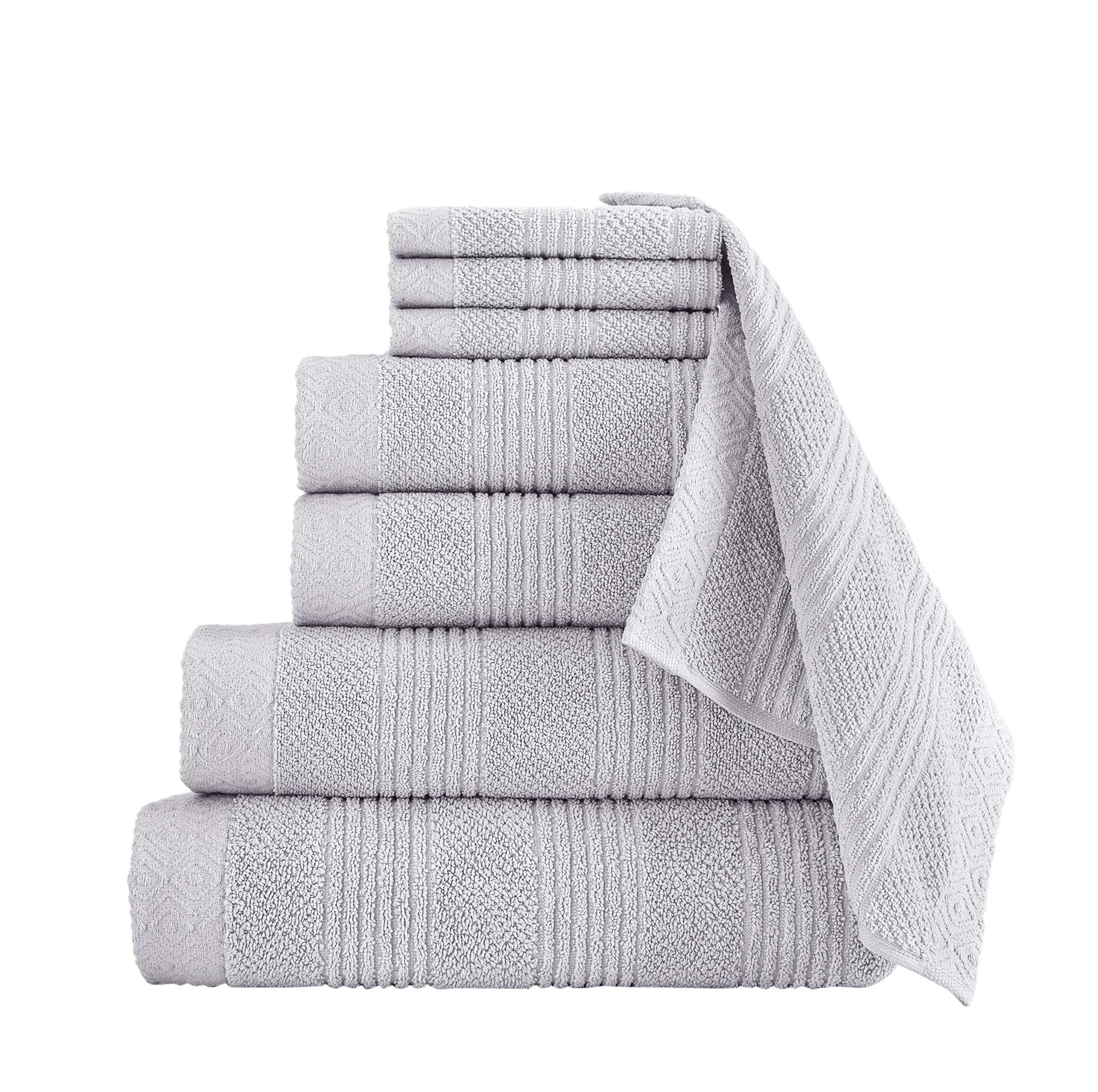 Classic Turkish Towels Luxury Bath Towel Set - Complete Bathroom Set with Large Bath Sheet Included - Made with 100% Turkish Cotton (Platinum, 8 Piece Set)