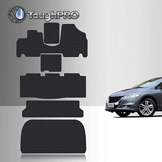 TOUGHPRO Floor Mat Accessories 1st + 2nd + 3rd Row + Cargo Mat Accessories Compatible with Honda Odyssey - All Weather - Heavy Duty - (Made in USA) - Black Rubber - 2005
