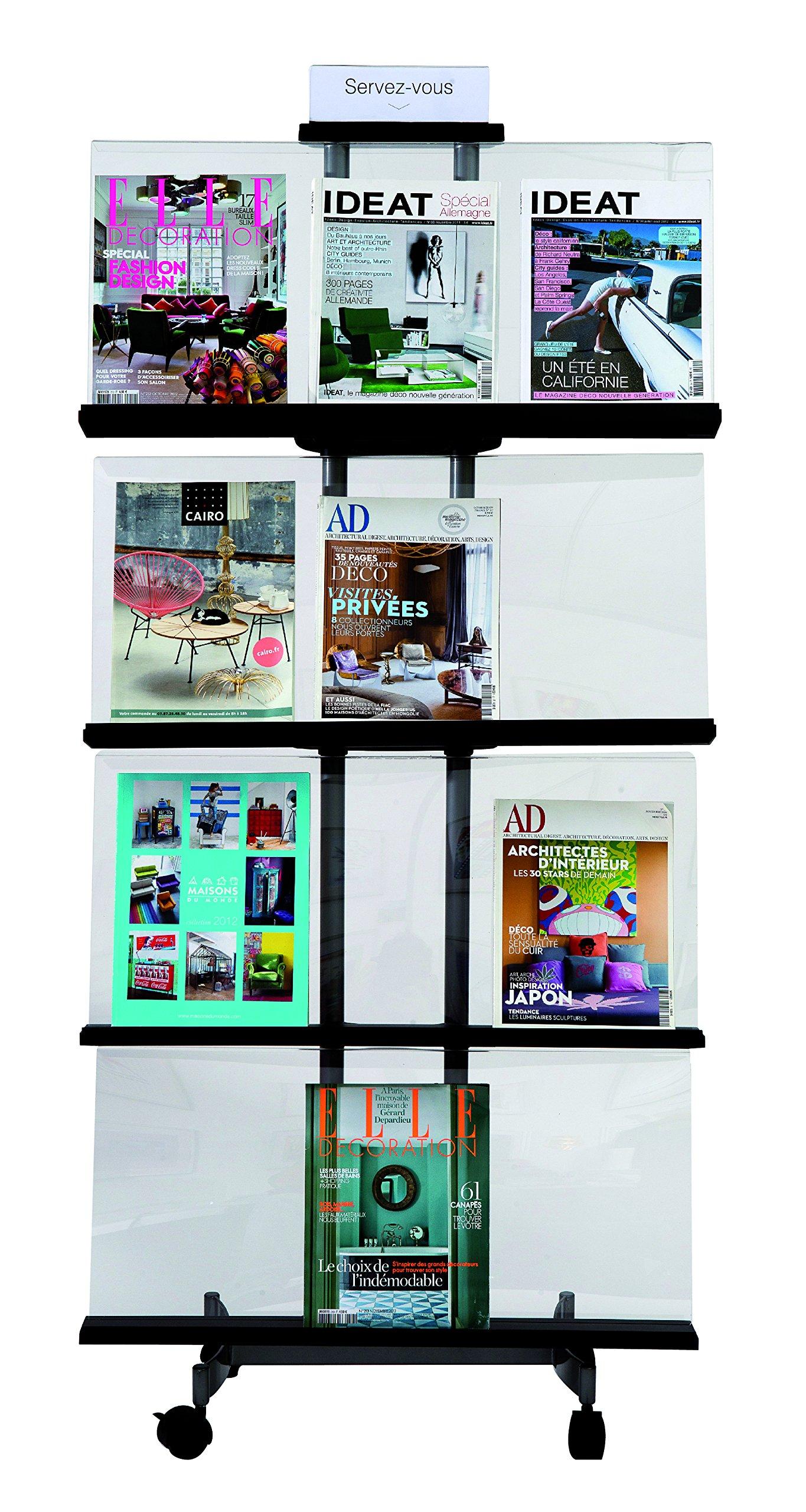 Alba Transparent Mobile Literature Display, Medium, 65.7''x28.7''x12.8'' (DDPUR M)