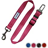 Zenify Dog Car Seat Belt Seatbelt Lead Puppy Harness - Heavy Duty Adjustable Carseat Clip Buckle Leash for Dogs Puppies Pets Travel - Pet Safe Collar Accessories Supplies Truck Safety Covers (Pink)