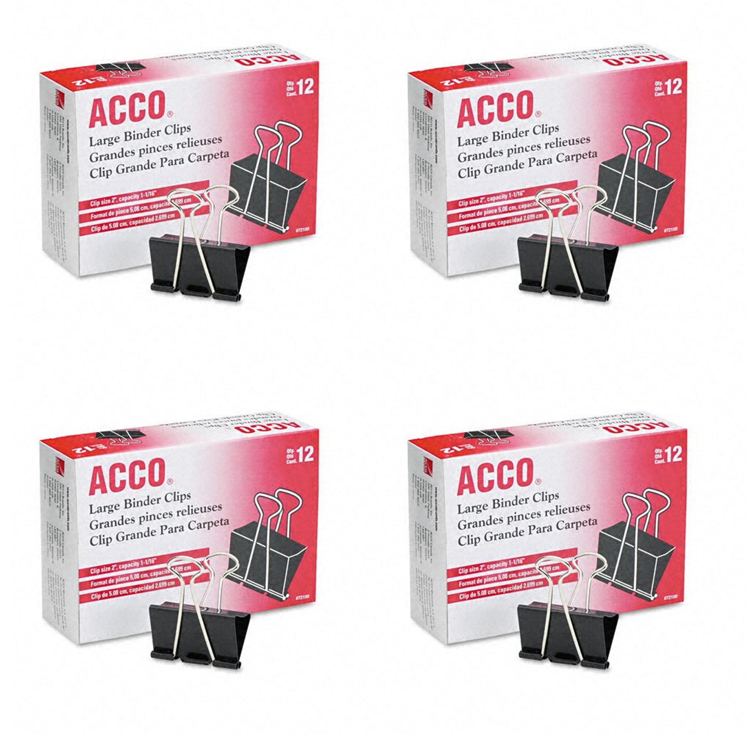 ACCO Binder Clips, Large, 4 Boxes, 12 Clips/Box (A7072100B-AZ)