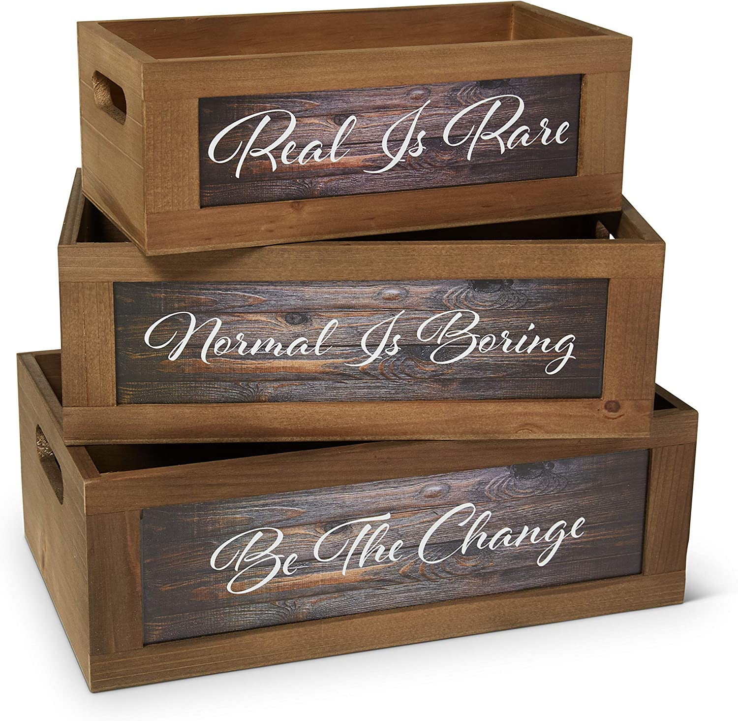 GoinFam Wooden Farmhouse Crates - Set of 3 - Inspirational Quotes - Farmhouse Decor - Dream Pantry - Decorative Storage Bins - Country Vintage - Rustic Organization - 3 Sizes (Small, Medium, Large)