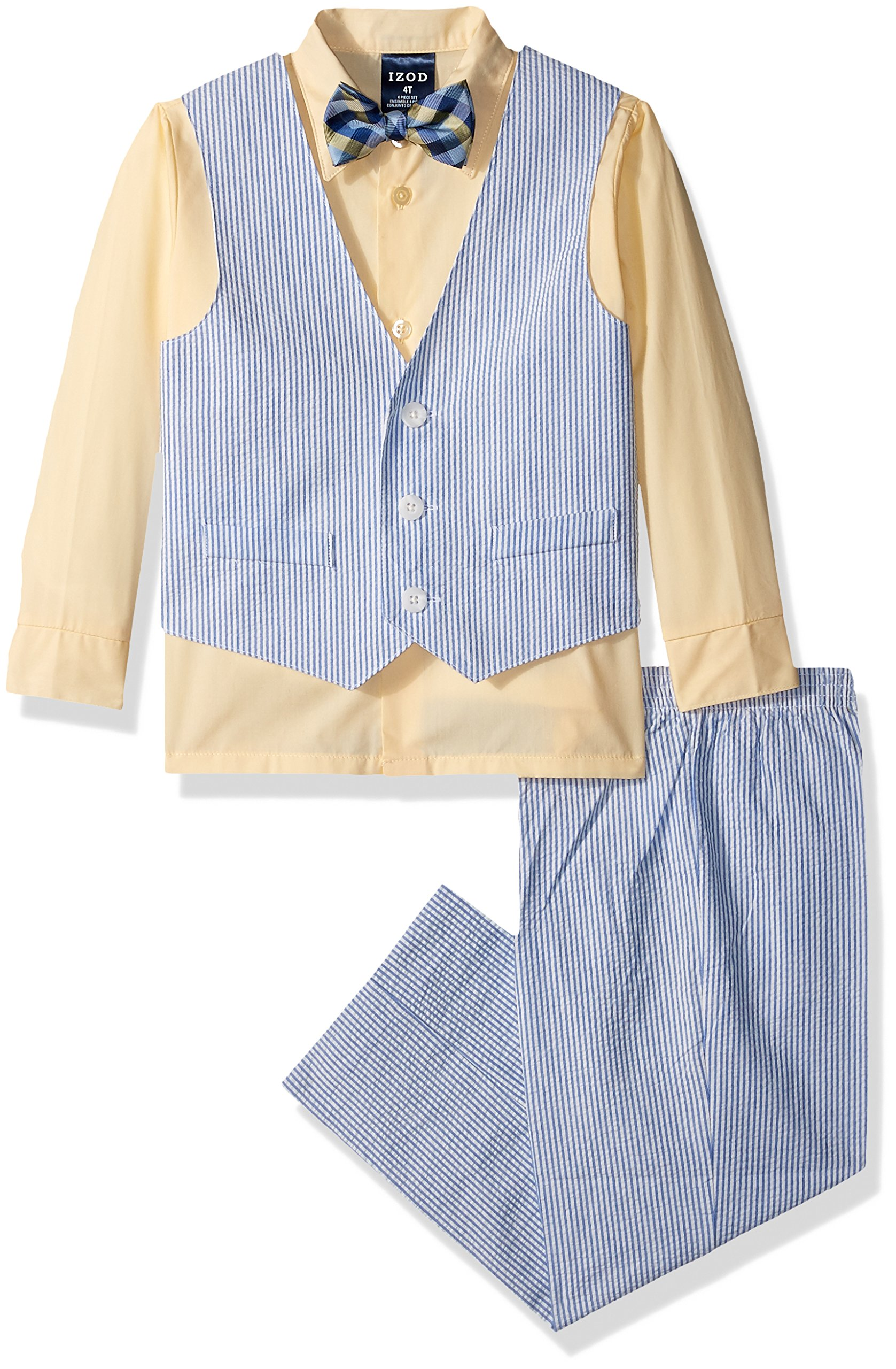 Izod boys 4-Piece Vest Set with Dress Shirt, Bow Tie, Pants, and Vest, Yellow Veil, 4