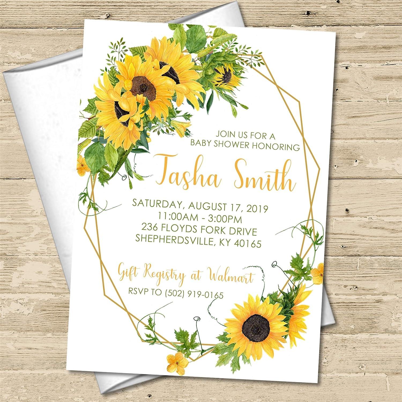 Amazon Com Sunflower Baby Shower Invitations Rustic