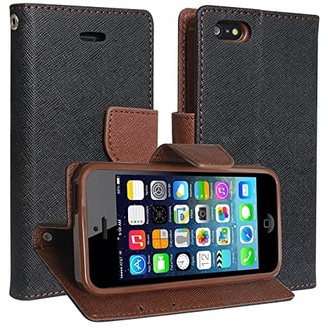 quality design fb5db 14d0f SCHOFIC Premium Faux Leather Fancy Wallet Mobile Flip Cover with Card  Slots, Stand View and Magnetic Strap for Apple iPhone 4/4S (Choco Brown)