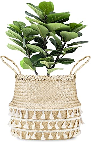 La Maia Medium Natural Net Woven Seagrass Belly Plant Basket