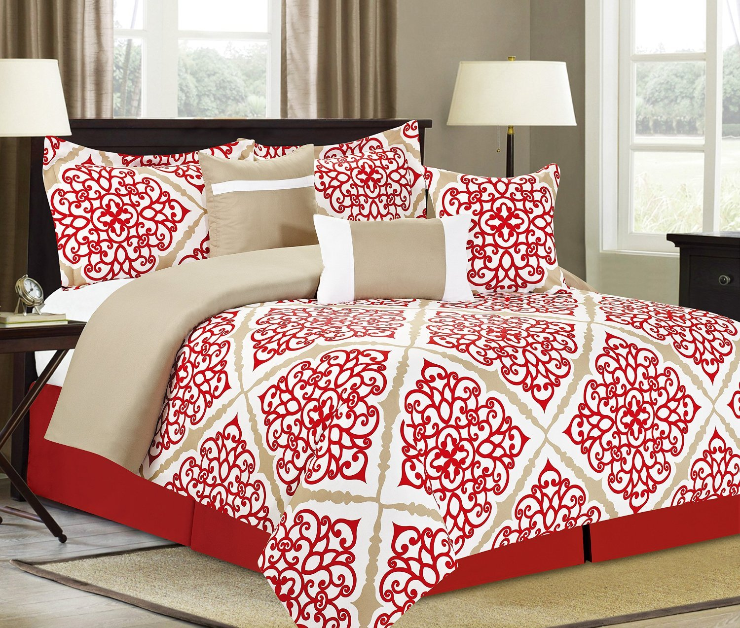 King Comforter 7 Bedding Piece Set, Red and Tan Damask Medallion Print
