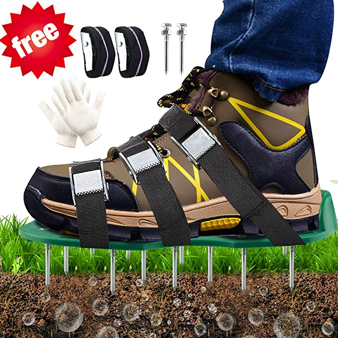 Begleri Aerator Shoes, Aerating Shoes, Lawn Aerator Shoes - with 8 Double Layers Straps, 1 Pair Glove, for Aerating Yard, Lawn, Roots & Grass