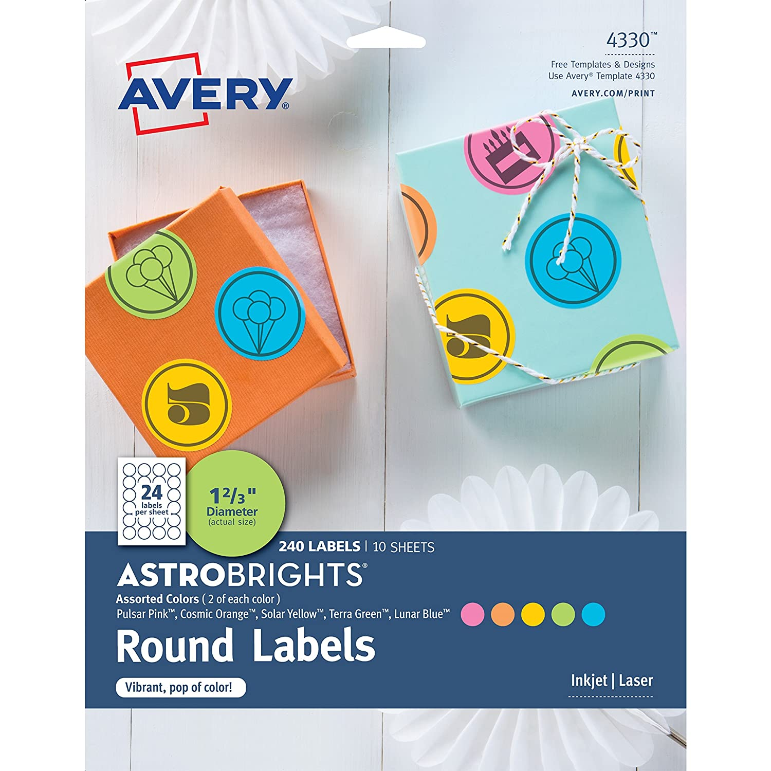 Amazon Avery 4330 Astrobrights Color Easy Peel Round Labels
