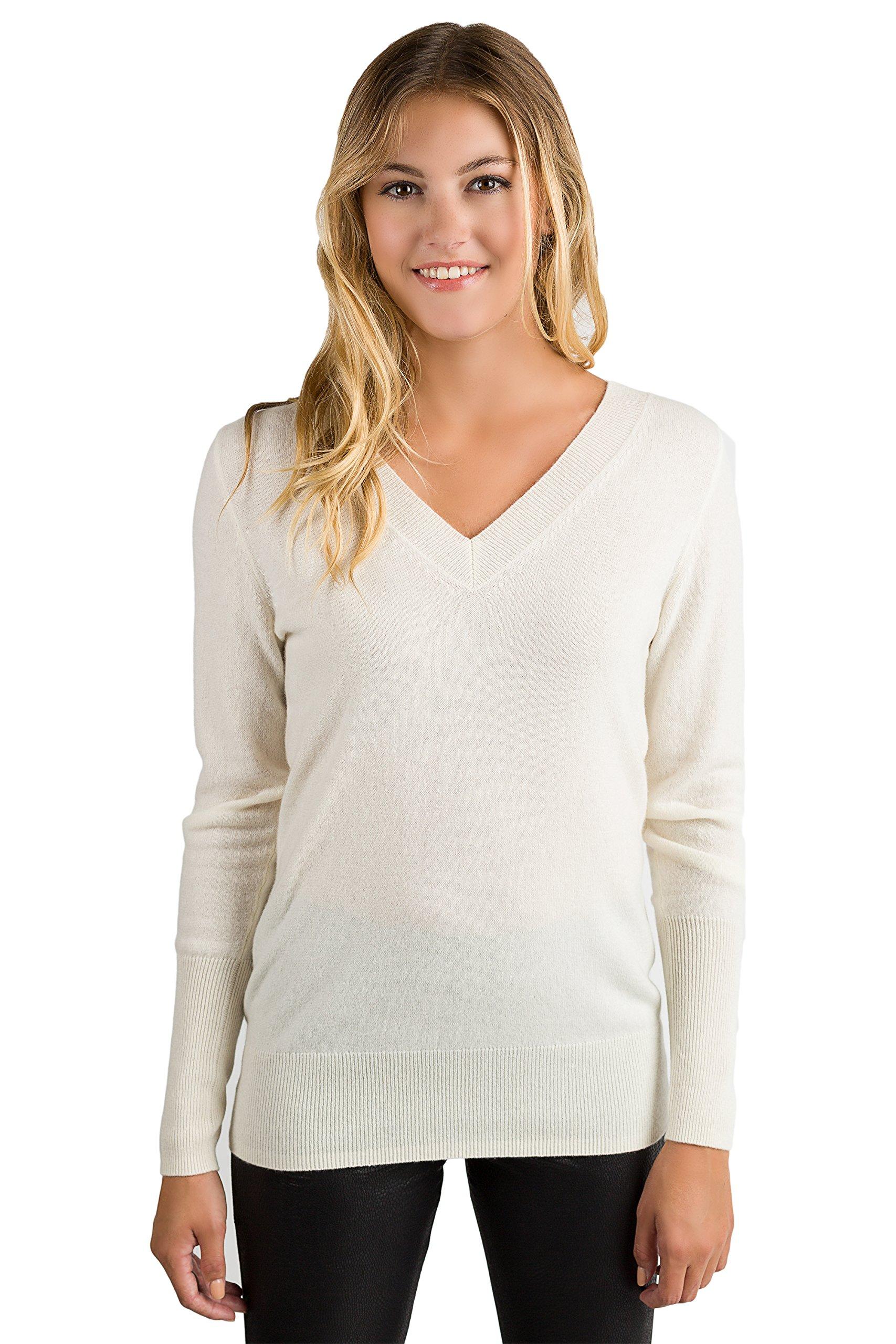 JENNIE LIU Women's 100% Pure Cashmere Long Sleeve Ava V Neck Pullover Sweater (PM, Cream)