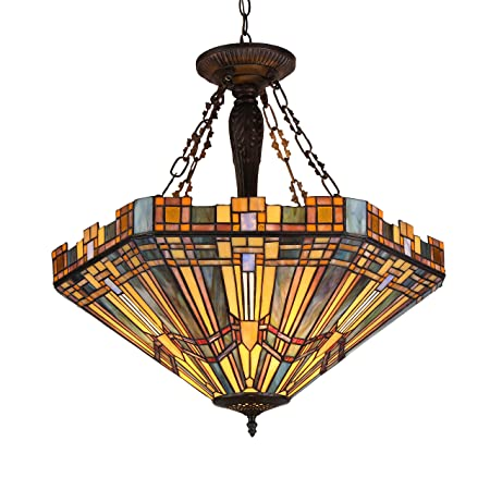 Chloe Lighting CH36432MS24-UH3 Tiffany Saxon, Tiffany-Style 3 Light Mission Inverted Ceiling Pendant Fixture 24 Shade, Multi