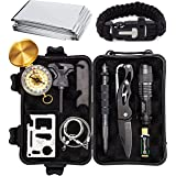 Sealed Products Complete 12 in 1 Emergency Survival Kit with Batteries Included - Ultimate Outdoor Emergency Camping Tool with Paracord Bracelet, Compact Knife, Multitool, and More