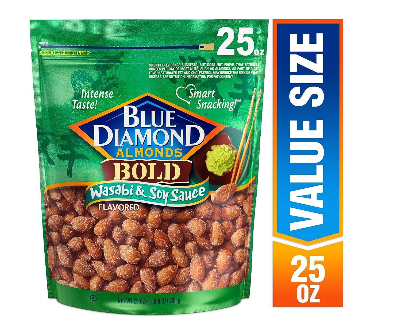 Blue Diamond Almonds Bold Wasabi & Soy Sauce Almonds, 25 oz