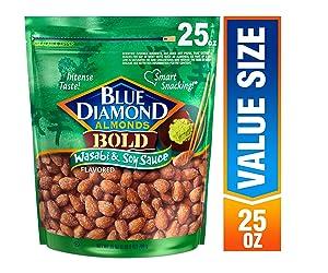 Blue Diamond Almonds Bold Wasabi & Soy Sauce Almonds, 25 Ounce (Pack of 1)