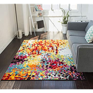Impasto Multi Geometric Red Yellow Blue Modern Abstract Painting Area Rug 5 x 7 (5'3  x 7'3 ) Easy Clean Stain Fade Resistant Shed Free Contemporary Brush Stroke Thick Soft Plush Living Dining Room