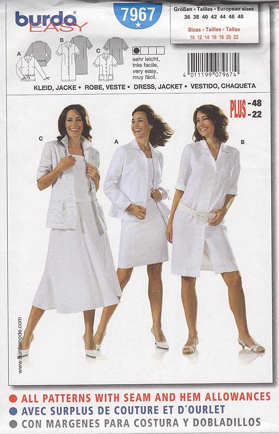 Amazon.com: Burda Easy Dress & Jacket Sewing Pattern 7967 in Sizes 10 - 22: Home & Kitchen