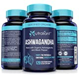 Ashwagandha Capsules for Anxiety Relief - 1300mg Pure Organic Ashwaganda Root Powder + Black Pepper Extract for Best Absorption. Stress, Adrenal, Thyroid, Mood & Sleep Supplement - 120 Veggie Caps