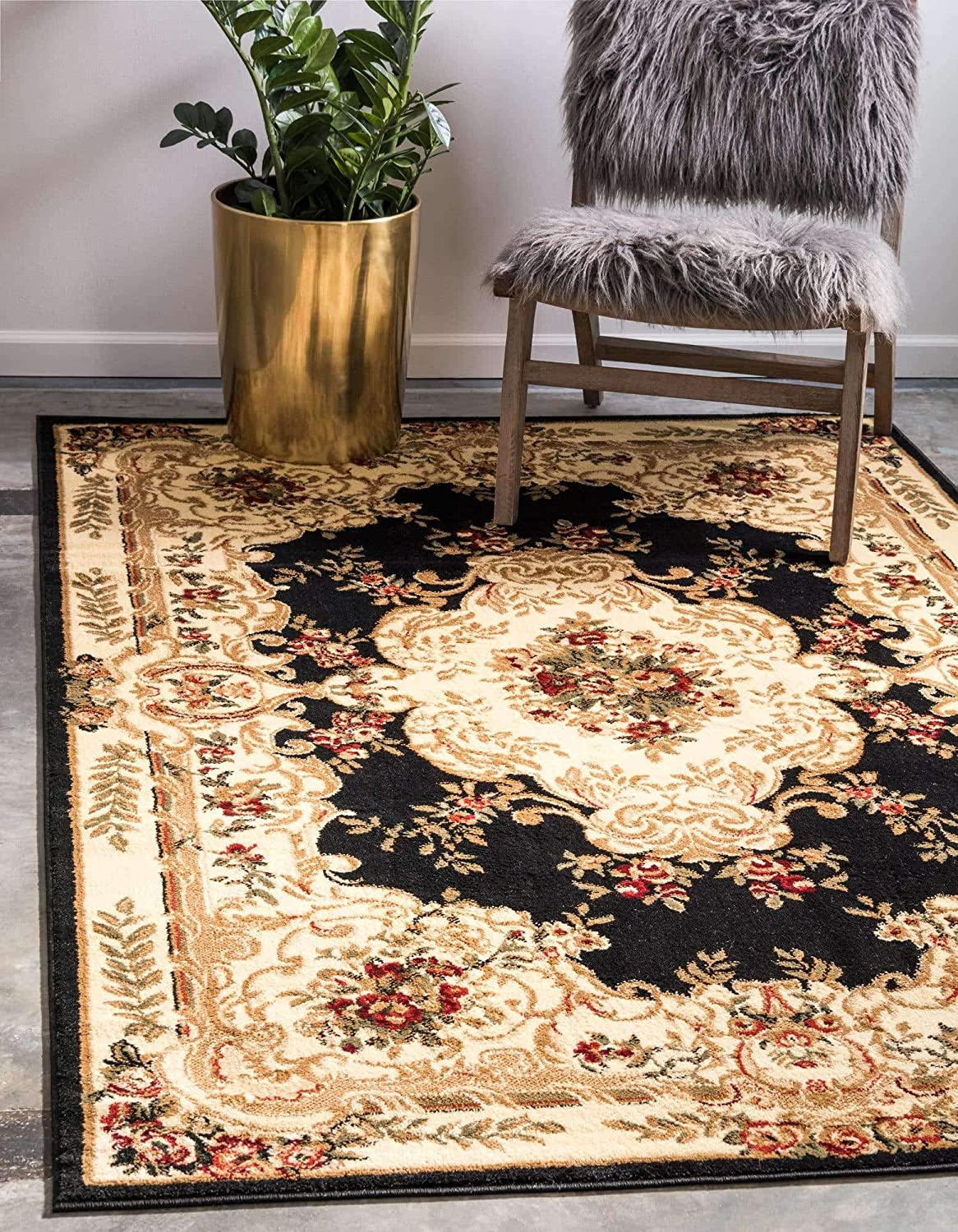 Unique Loom Versailles Collection Traditional Classic Black Area Rug (4' 0 x 6' 0)