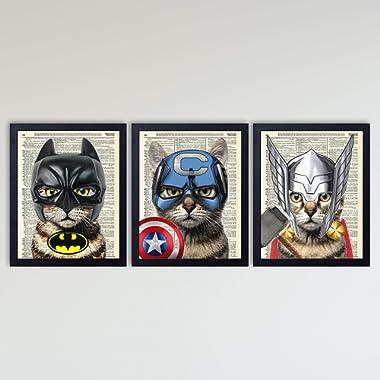 Super Hero Cat 3 Piece Set, Bat Cat, Captain Cat & Thor Cat Art Prints, Kids Bedroom Decor on Vintage Dictionary Book Pages, Fun Children's Room Decor, 8x10 inches each, Unframed