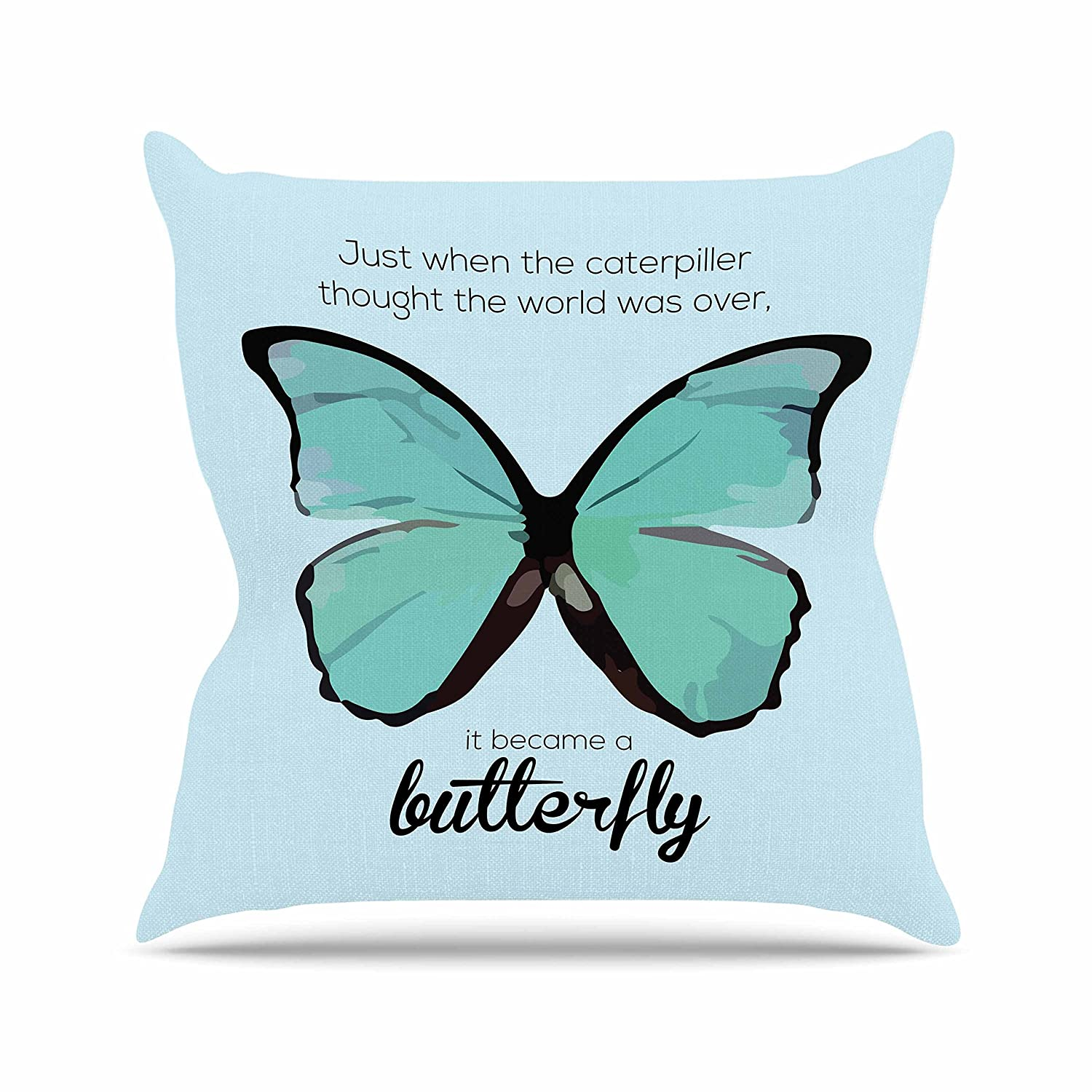 Kess InHouse NL Designs Blue Butterfly Blue Quote Throw Pillow, 18 by 18'