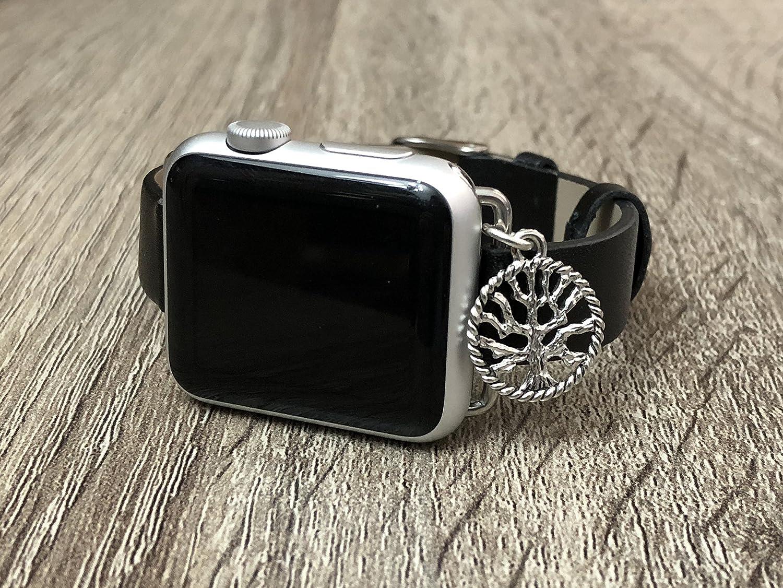 Simeon D Negro Piel Vegana Banda para Apple Reloj Serie 12& 3, Hecha a Mano de tamaño Ajustable Pulsera de Plata árbol de la Vida Elegante Apple Watch Pulsera de joyería