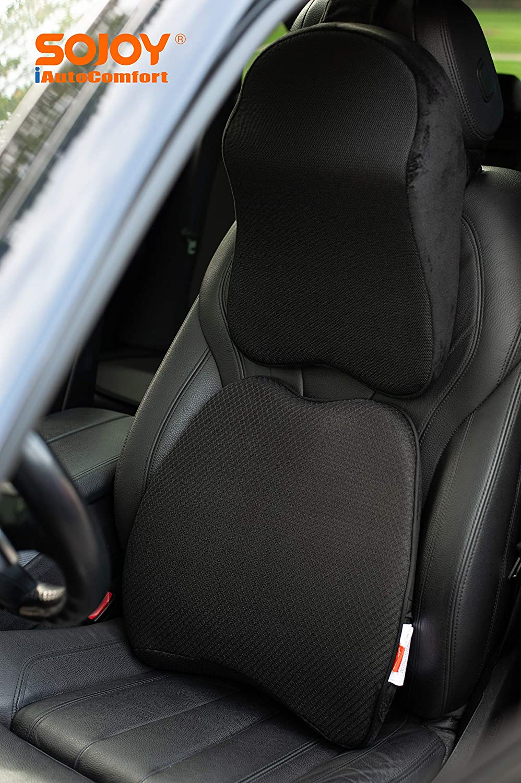 Sojoy Patented Universal Ergonomic Streamlining Car Seat/Cushion Lumbar and Neck Support (17x13x6)