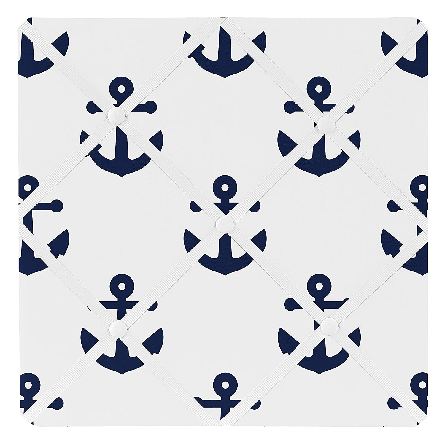 Sweet Jojo Designs Navy White Anchors Fabric Memory Memo Photo Bulletin Board - Blue Nautical Theme Ocean Sailboat Sea Marine Sailor Anchor Unisex Gender Neutral