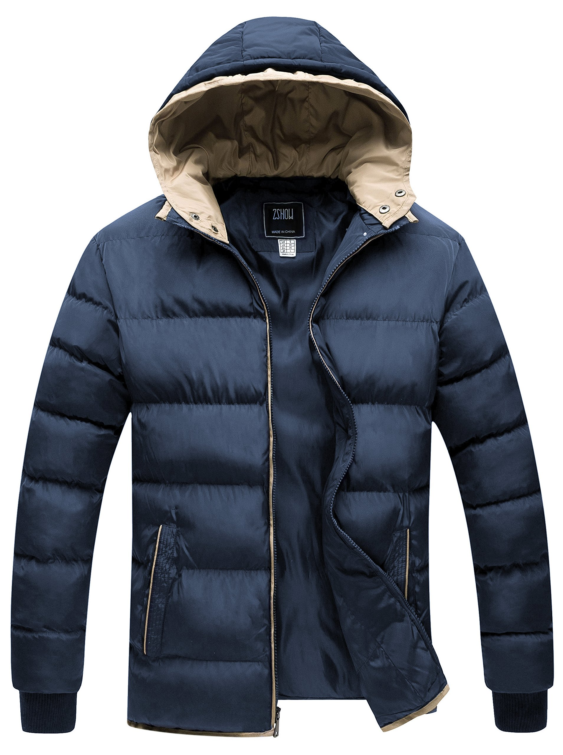 ZSHOW Men's Winter Double Hooded Thicken Quilted Cotton Jacket(Navy,Medium)