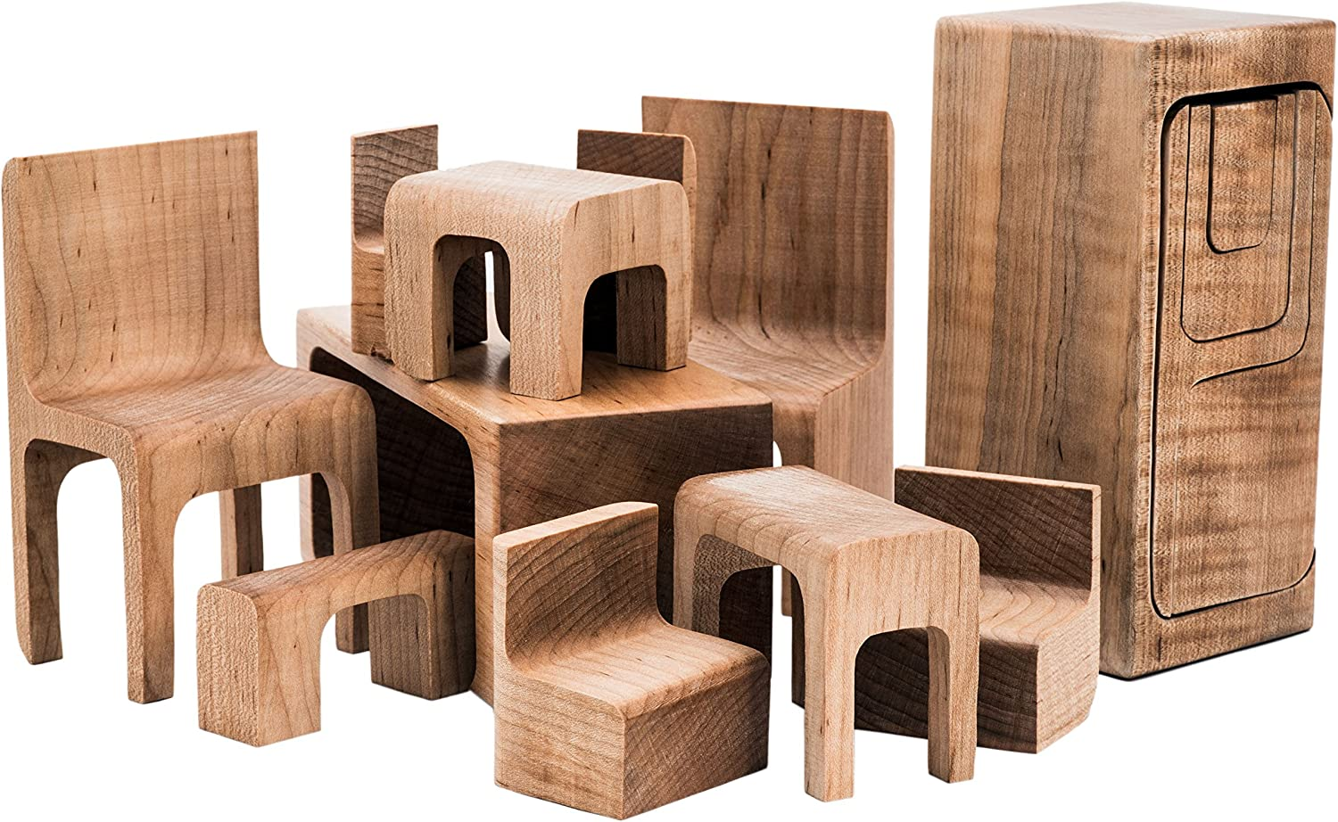 Furniture Puzzle Chairs and Tables Folk Design Maple