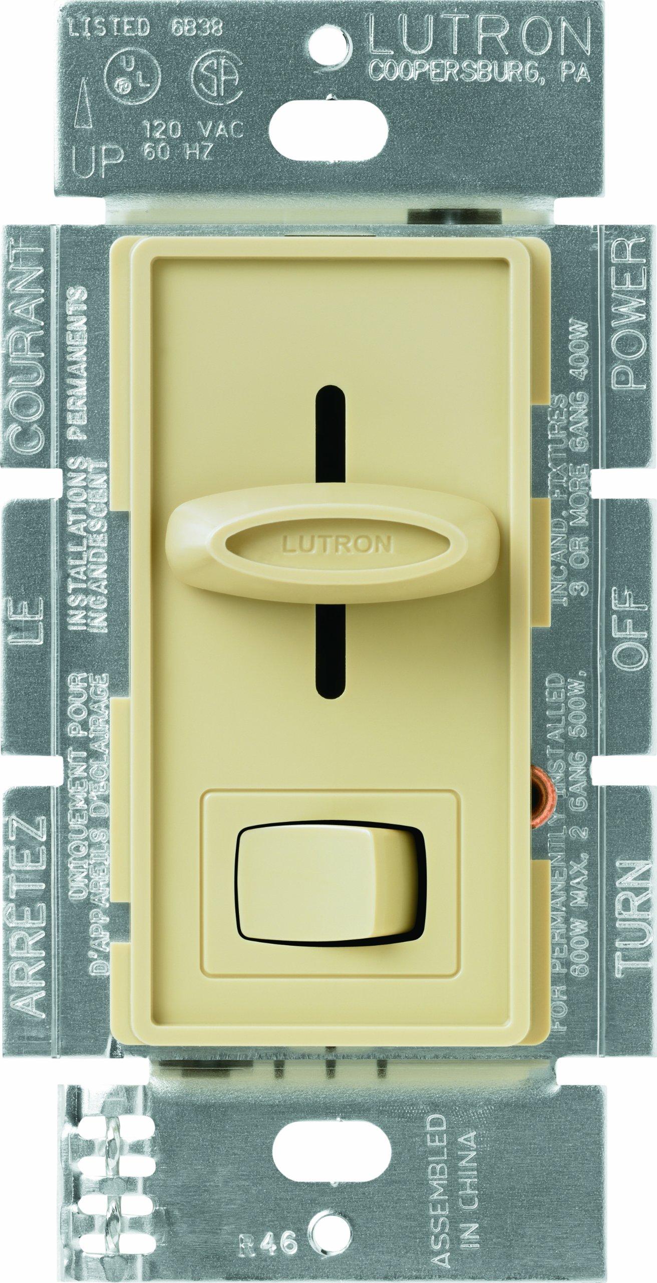 Lutron S-600P-IV Skylark Single Pole Dimmer with On/Off Switch, 600-watt, Ivory