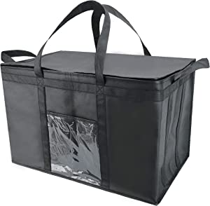 Bodaon Insulated Food Delivery Bag, Meal Grocery Tote Insulation Bag for Hot and cold Food,Commercial, Large Capacity Reusable Warming Bag Black