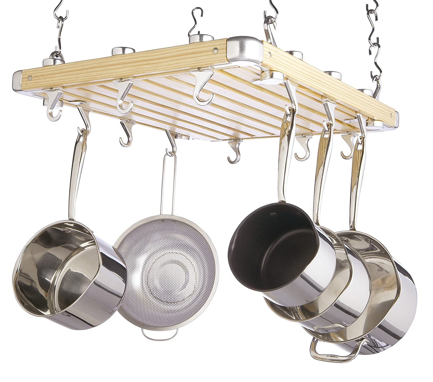 shaped hammered racks dp enclume steel pot rack kitchen decor classic ceiling com oval amazon dining