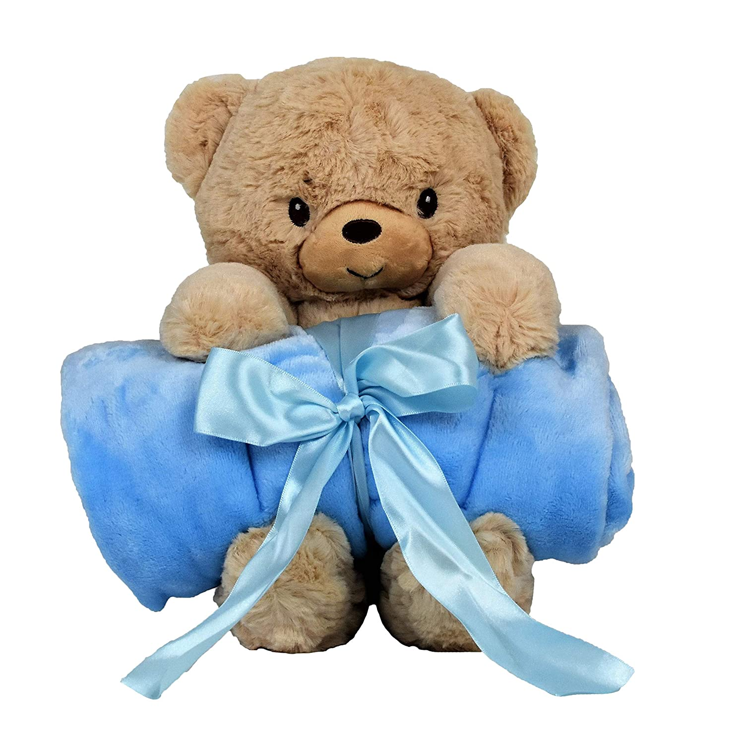 Blankie s Stuffed Animal Blanket Super Soft 37 x 30 Blue Baby Boy Blanket and Teddy Bear 2-in-1 Combo Perfect Teddy Bear Blanket Baby Shower Gift for Boys