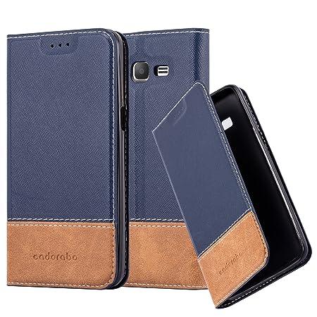 Cadorabo Hülle für Samsung Galaxy Grand Prime - Hülle in BLAU BRAUN – Handyhülle mit Standfunktion und Kartenfach aus Einer K