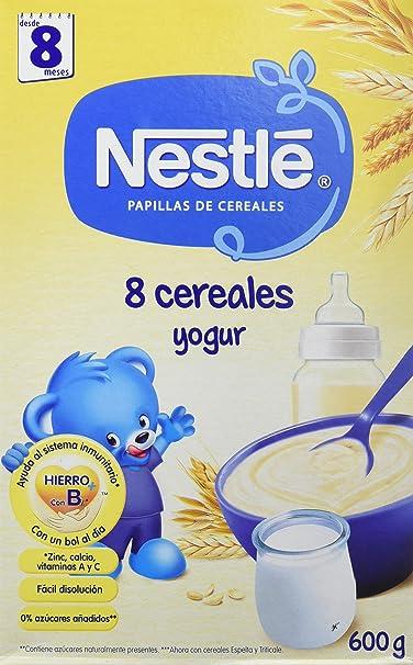 Nestlé Papilla 8 cereales Yogur - Alimento Para bebés - Paquete de 6x600 g - Total